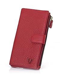 女式经典红色热卖复古真皮长款钱包女士性感手包钱包