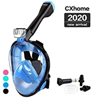 CXhome 全脸*管口罩,180°全景潜水面罩和可拆卸相机支架,防雾和防漏浮潜面罩,带可调节头带,适合成年人和青少年