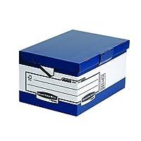 Bankers 盒子系统折叠盖盒 ERGO-Stor 立方体与 FastFold,10件装,蓝色/白色 Maxi
