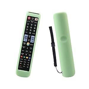 SAMSUNG 智能电视遥控器保护套 sikai 硅胶保护套适用于 Samsung AA 59–00652A HDTV 远程覆盖防震防尘可水洗 skin-friendly 防滑手挂绳 Luminous Green