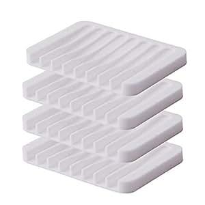 Oldhill 硅胶棒肥皂盒淋浴浴室厨房用具 4 件装 白色