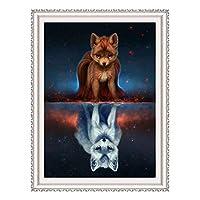 "AOLIGE 全钻 DIY 5D 钻石画 数字套件带框架和高清画布 成人 11.8"" x 15.7"" Fox Z001-DIY 5D Diamond Painting"