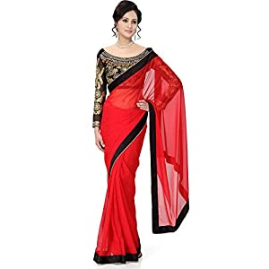 Winza best saree Ladies party wear georgette sari for top women with embroidered fancy blouse and lace border