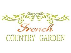 法国乡村模板 - 可重复使用的复古法国花园文字墙壁模板 - 用于纸质工程剪贴簿日记墙壁地板面料家具玻璃木材等。 L 43216-41776
