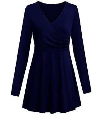 Daci 女式长袖低圆领褶裥飘逸飘逸束腰上衣口袋 *蓝 US 12