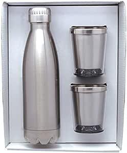 Vastigo 17 盎司(约 503.2 毫升) 不锈钢水壶和两个 7 盎司鸡尾*杯 | 双壁 | 18/8 不锈钢级 | 白色礼盒 | 馈赠佳品 拉丝不锈钢