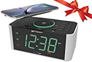 Emerson 鬧鐘收音機和 QI 無線電話充電器,帶藍牙,兼容 iPhone Xs Max/XR/XS/X/8/Plus、10W Galaxy S10/Plus/S10E/S9,所有 Qi 兼容手機,ER100202