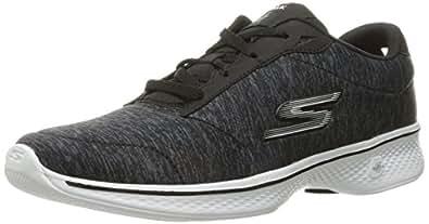 Skechers 斯凯奇 GO WALK 4系列 女 轻质绑带户外舒适休闲鞋 14173-BKW 黑色/白色 37 (US 7)