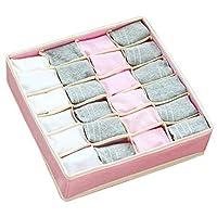 1 包可折叠面料抽屉整理隔板,壁橱橱柜整理盒储物盒储物盒,可放置内裤、内衣、领带、袜子、内衣,PoeticValley出品(粉色,24 个电池)