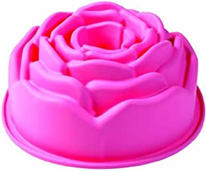 Pavonidea FRT137 蛋糕盘花形,* 铂金硅胶,Dim. 215 x 95 毫米。 粉色 - 带礼品盒和食谱书