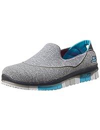 Skechers 斯凯奇 GO FLEX系列 女 生活休闲鞋 轻质一脚蹬健步鞋 14010-CCBL 炭灰色/蓝色 36 (US 6)