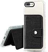 IronSeals AQ 折叠卡槽牛津贴纸手机壳钱包带钢扣适用于 iPhone/Samsung/Sony 和大多数手机 均码 黑色