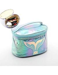 XICHEN 大容量桶式储物袋化妆包,开放式口袋拉链,魔术激光可爱鱼尾刺绣(蓝色)