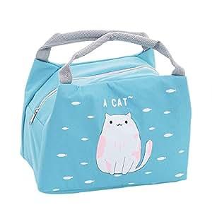 Oyachic 可爱动物保暖午餐袋 隔热 手提袋 防漏拉链袋 带箔内衬 适用于办公室、学校和野餐 猫咪 L CC-C60101-CN