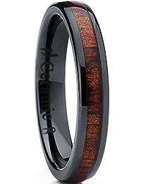 女式黑色陶瓷圆形无装饰婚戒带 REAL koa 木镶嵌4mm ,舒适贴合