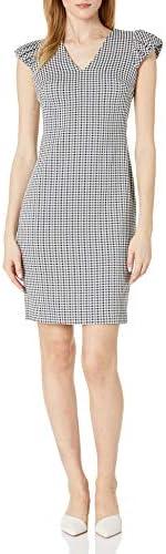 Calvin Klein 女士 V 领条纹紧身上衣带泡袖连衣裙