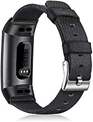Fintie Fitbit Charge 3 编织腕带,柔软尼龙面料可调运动腕带替换带,适用于 Fitbit Charge 3 / Charge 3 SE 健身活动追踪器女士男士 黑色
