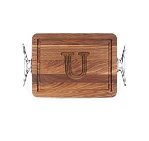"CHUBBCO W200-SCLT-U Thick Bar/Cheese Board with Boat Cleat Cast Aluminum Handle, 9-Inch by 12-Inch by 3/4-Inch, Monogrammed ""U"", Walnut"
