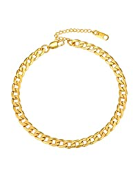 PROSTEEL 18K 镀金不锈钢链脚链夏季海滩珠宝男女款,22.86 厘米+5.08 厘米可调节  011 Gold-Cuban Chain