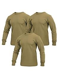 Rothco 军装风格长袖纯色 T 恤,AR 670-1 Coyote 棕色,3 件装