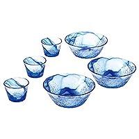 Toyo sasaki 东洋佐佐木玻璃 流苍 日本制造 可应对洗碗机 玻璃碗 蓝色 (中鉢)φ19×7cm (つゆ鉢)φ9.2×6.5cm G097-B71