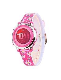 儿童数字手表户外运动防水电子手表闹钟秒表日历男孩女孩手表(玫瑰红)