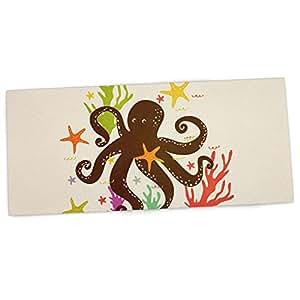 """KESS InHouse 33 x 66 厘米办公桌垫,鼠标垫""""海上朋友""""章鱼棕褐色 (TT1001ADP02)"""