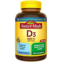 Nature Made Vitamin D3 1000 IU(25 mcg) 軟膠囊,300粒,有益于機體和骨頭?(包裝可能有所不同)