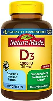 Nature Made Vitamin D3 1000 IU(25 mcg) 软胶囊,300粒,有益于机体和骨头?(包装可能有所不同)