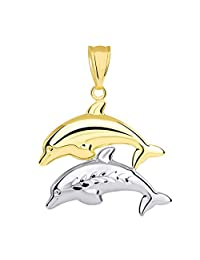 14k 黄金和白金双色三维海豚跳跃吊坠