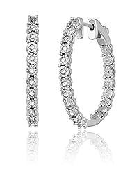 标准纯银奇迹镀圆形钻石耳环(1/4cttw , I-J 颜色, I3净度)