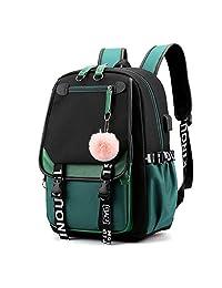 笔记本电脑背包,超大背包,带 USB 充电端口,适合少女和男孩
