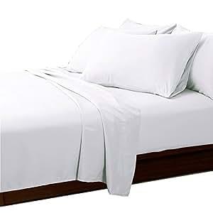 Essina Candies 系列,* 纯棉纯色深袋大号床单 4 件套,深口袋 白色 两个 01- FFSTWN-Candies-White,FBA