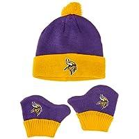 OTS NFL 男女宝宝 Pow Pow 针织帽和手套套装