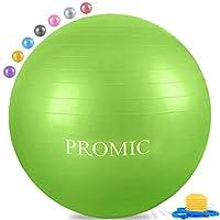 PROMIC 运动球 (45-85cm) 带快足泵,专业级防爆和防滑平衡球适合瑜伽,平衡,锻炼,健身,适合工作椅(8 种颜色)