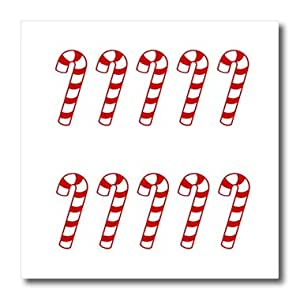 """3dRose ht_27808_1 Large Candy Canes Christmas-Iron On Heat Transfer, 8 by 8"""", For White Material"""