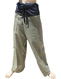 Raan Pah Muang RaanPahMuang 浅条纹棉质双色泰国渔夫长裤