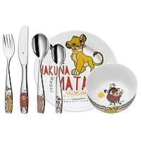 WMF 福腾宝 狮子王儿童餐具6件套,Cromargan抛光不锈钢,适用于3岁以上儿童,可使用洗碗机清洁,颜色稳固/不与食品产生物质交换
