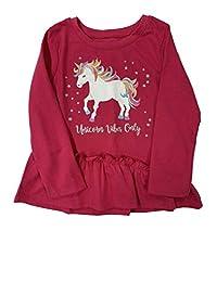 婴幼儿女孩粉色荷叶边上衣独角兽振动婴儿衬衫