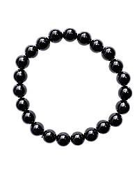 """Zenergy Gems Charged Premium 7"""" 黑色黑曜石水晶 8mm 珠手链(保护和研磨)[Reiki]"""