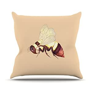 Kess InHouse Catherine Holcombe Bee Happy Beige 户外抱枕 18 in. 米色 CH1014AOP03