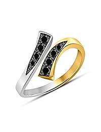 Gemstar Jewellery 可爱可调绕趾圆环 黑色单钻 925 纯银