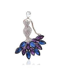Janefashions 女式正装*蓝 奥地利水钻水晶胸针 镀金 B5156  紫色