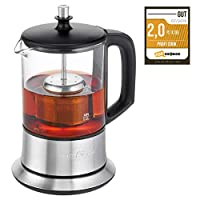 Profi Cook PC-TK 1165 1165-2 合 1 茶壶和烧水壶,永久不锈钢茶过滤器(可升降),0.5 升容量,保温功能,玻璃/不锈钢外壳,黑色/银色