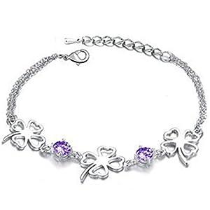 Lovely Sentiment Shinny Clovers Good Luck Bracelet