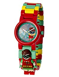 LEGO BATMAN 电影 Robin 儿童迷你人偶表链 buildable 手表 | 红色/绿色 | 塑料 | 28MM 保护套 diameter| ANALOGUE 石英 | 男孩女孩 | 官方