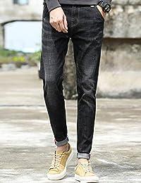 Hooper Homme 青年男士休闲裤韩版牛仔裤修身小脚裤黑色裤子男潮流休闲长裤纯色长裤牛仔