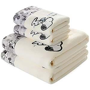 FOYAGE 【2件套】超细纤维浴巾(70 * 140) 加毛巾(35 * 75)一套 加厚礼品沙滩巾 干发巾 非纯棉 (纯白)