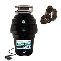 Eco Logic EL-10-DS-BK 10 设计师系列食品废弃物处理器,带黑色槽口,1-1/4 HP 油面青铜水槽法兰 1-1/4 Horsepower EL-10-DS-OR
