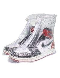 VXAR Shoes Covers 防雨雪靴 防水 可重复使用 防滑 可折叠 加厚鞋底 鞋带 适合旅游 徒步旅行 骑行 野营 钓鱼 花园 户外 女式 L-W/6.5-7.5,M/4.5-5.5 Transparent1 V-X137